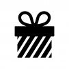 プレゼント箱の白黒シルエットイラスト05