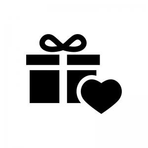 プレゼント・贈り物の白黒シルエットイラスト