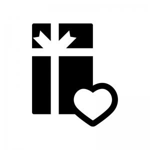 プレゼント・贈り物の白黒シルエットイラスト02