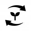リサイクル・エコロジーの白黒シルエットイラスト