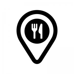 レストラン・飲食店の地図マーカーの白黒シルエットイラスト02