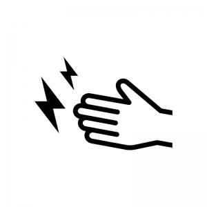 手と静電気の白黒シルエットイラスト