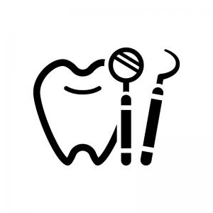 歯科検診の白黒シルエットイラスト