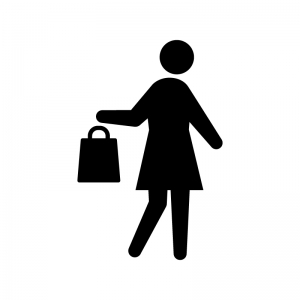ショッピングをする女性の白黒シルエットイラスト