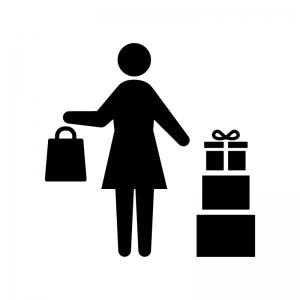 たくさん買い物をした女性の白黒シルエットイラスト
