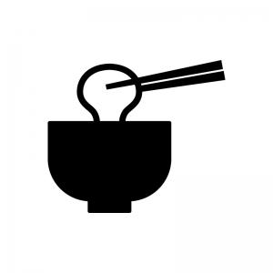 お雑煮の白黒シルエットイラスト