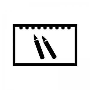 スケッチブックの白黒シルエットイラスト