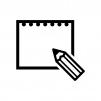 スケッチブックの白黒シルエットイラスト02