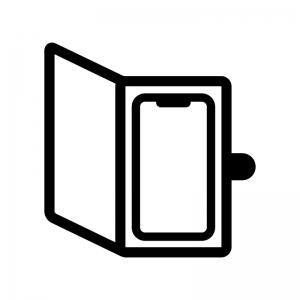 手帳タイプのスマホケース・カバーの白黒シルエットイラスト03