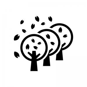 桜並木の白黒シルエットイラスト