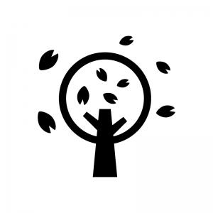 桜の木の白黒シルエットイラスト