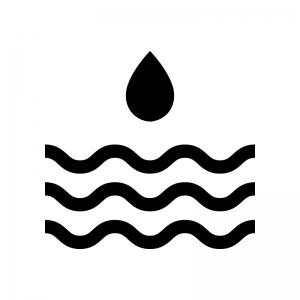 洪水・水害の白黒シルエットイラスト