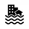 洪水・水害の白黒シルエットイラスト02