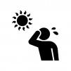 真夏・猛暑の白黒シルエットイラスト