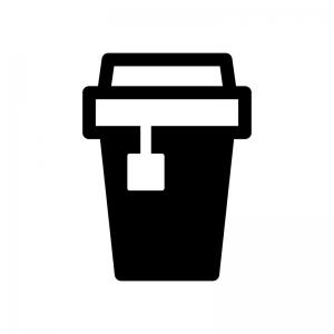 テイクアウトの紅茶の白黒シルエットイラスト