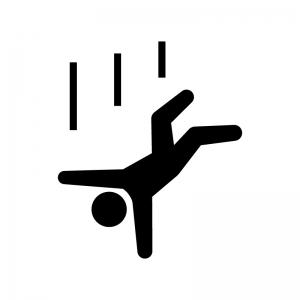 落下・転落注意の白黒シルエットイラスト02