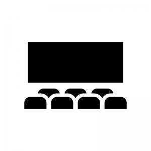 映画館・シアターの白黒シルエットイラスト