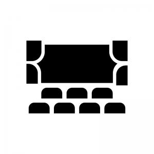 映画館・シアターの白黒シルエットイラスト02