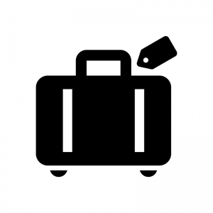 旅行バッグの白黒シルエットイラスト02