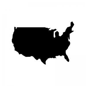 アメリカ合衆国の白黒シルエットイラスト