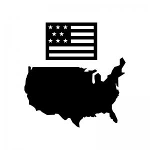 アメリカ合衆国の白黒シルエットイラスト02