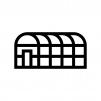 ビニールハウスの白黒シルエットイラスト03
