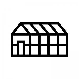 ビニールハウスの白黒シルエットイラスト04