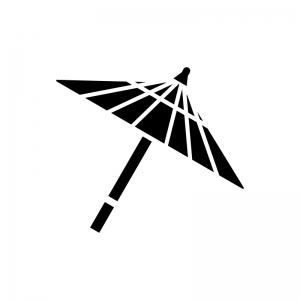 和傘(番傘)の白黒シルエットイラスト