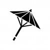 和傘(番傘)の白黒シルエットイラスト02