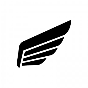 翼・羽の白黒シルエットイラスト02