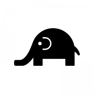 かわいい象さんの白黒シルエットイラスト