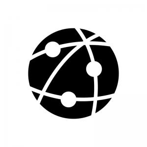 インターネット・ネットワークの白黒シルエットイラスト