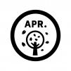 4月のイベントアイコンの白黒シルエットイラスト