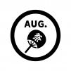 8月のイベントアイコンの白黒シルエットイラスト