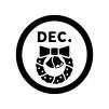 12月のイベントアイコンの白黒シルエットイラスト