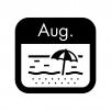 8月のイベントカレンダーの白黒シルエットイラスト