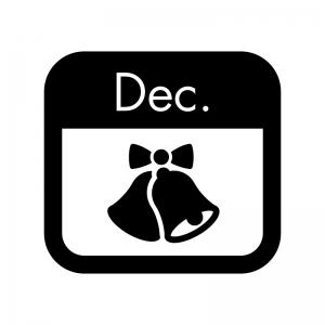 12月のイベントカレンダーの白黒シルエットイラスト