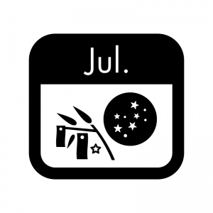7月のイベントカレンダーの白黒シルエットイラスト