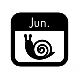 6月のイベントカレンダーの白黒シルエットイラスト