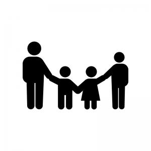 家族連れの白黒シルエットイラスト