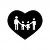 ハートフルな家族連れの白黒シルエットイラスト