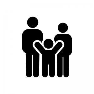 家族・親子の白黒シルエットイラスト