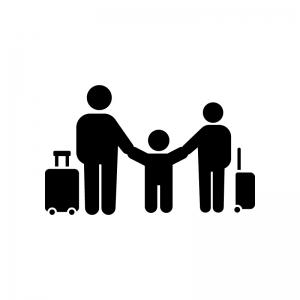 家族旅行の白黒シルエットイラスト