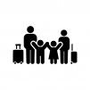家族旅行の白黒シルエットイラスト02