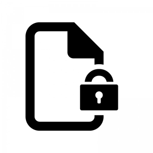 保護ファイルの白黒シルエットイラスト