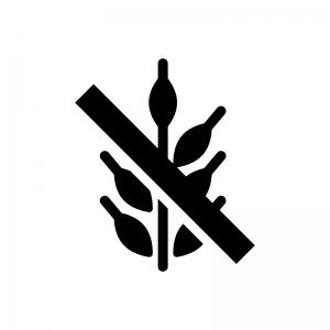 グルテンフリーの白黒シルエットイラスト