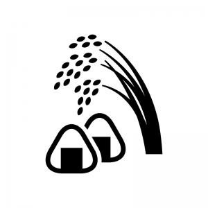 稲穂とおにぎりの白黒シルエットイラスト