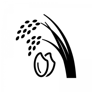 稲穂とお米の白黒シルエットイラスト
