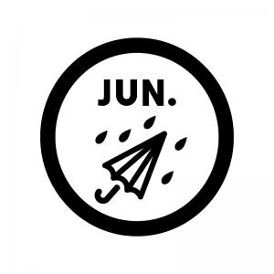 6月のイベントアイコンの白黒シルエットイラスト