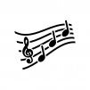 音楽・メロディの白黒シルエットイラスト